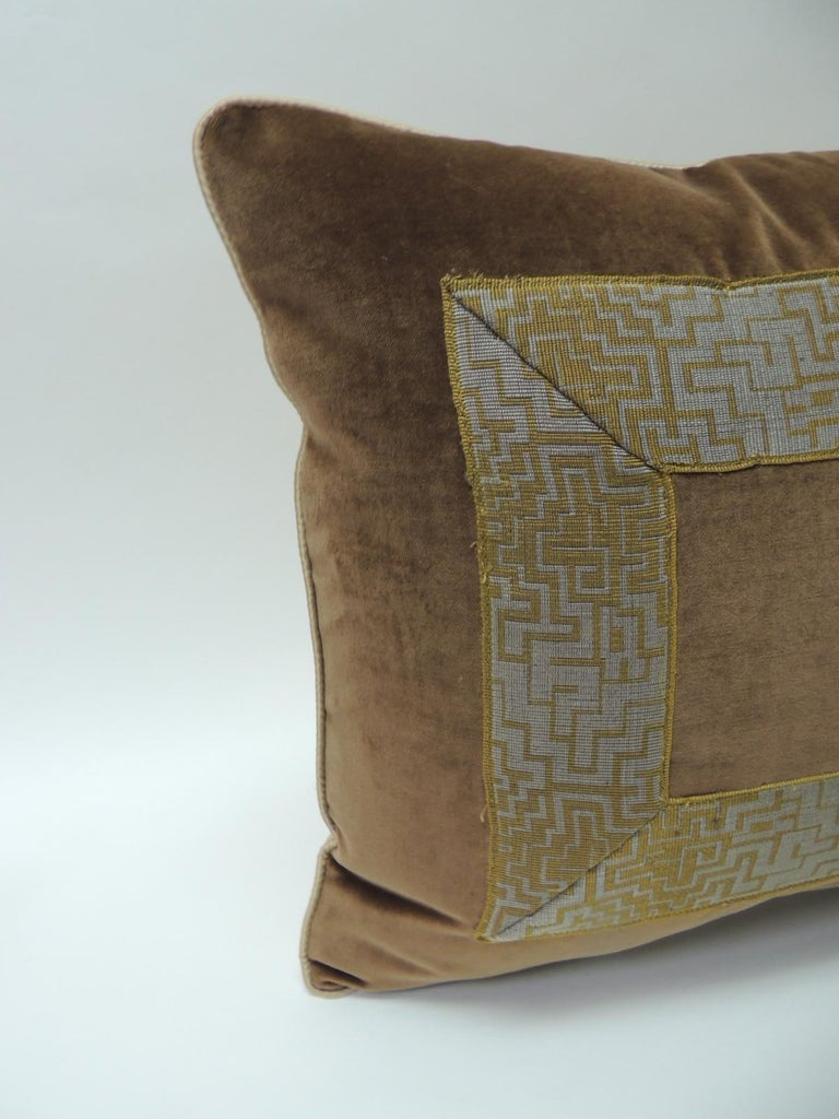 Art Deco Pair of Gold and Brown Deco Style French Silk Ribbon Decorative Bolster Pillows For Sale