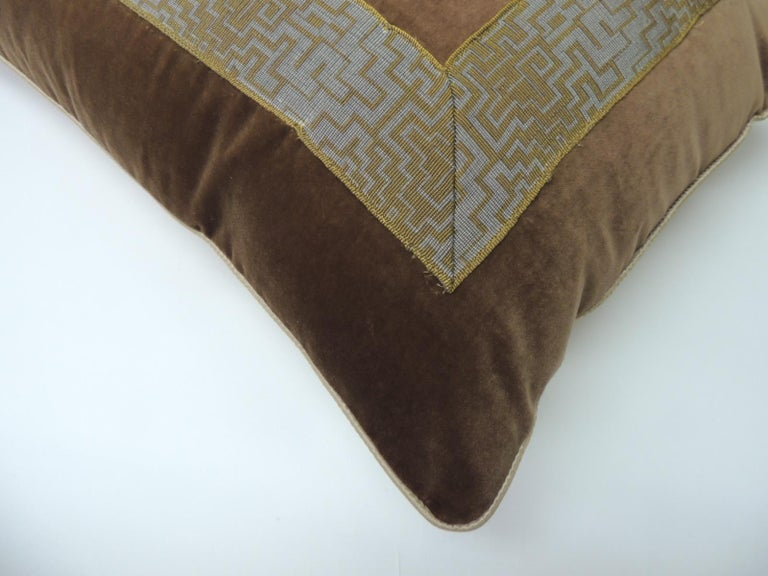 Hand-Crafted Pair of Gold and Brown Deco Style French Silk Ribbon Decorative Bolster Pillows For Sale