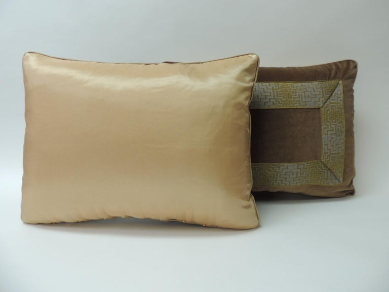Pair of Gold and Brown Deco Style French Silk Ribbon Decorative Bolster Pillows In Good Condition For Sale In Oakland Park, FL