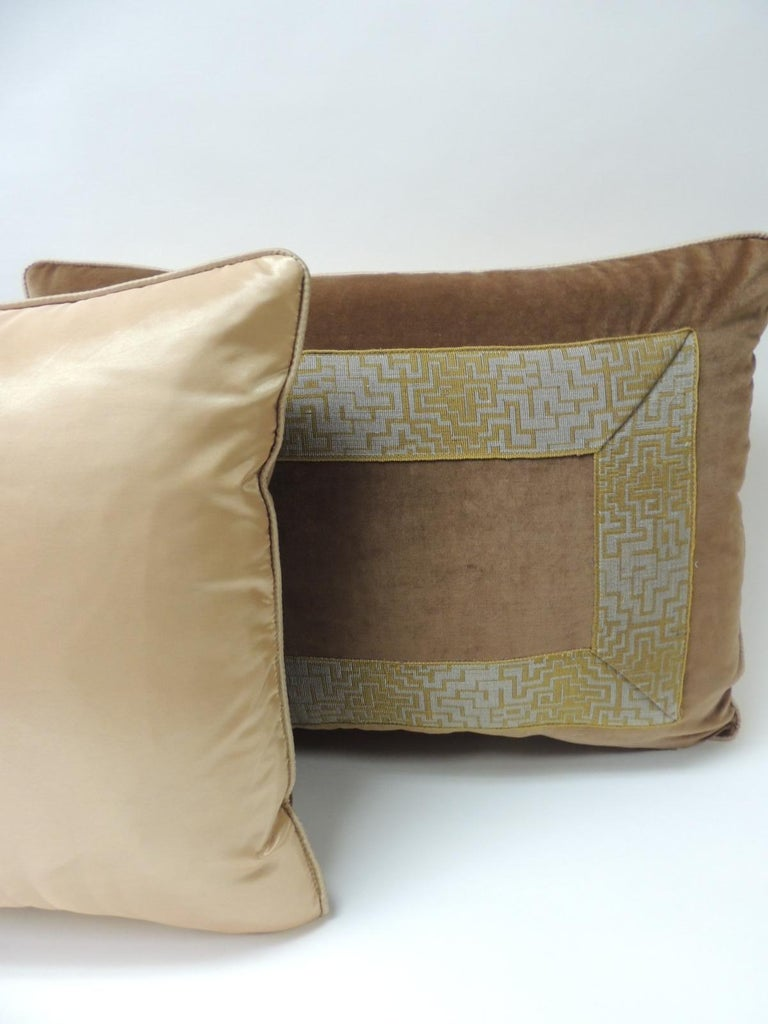Mid-20th Century Pair of Gold and Brown Deco Style French Silk Ribbon Decorative Bolster Pillows For Sale