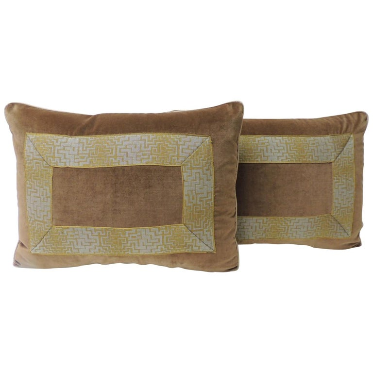 Pair of Gold and Brown Deco Style French Silk Ribbon Decorative Bolster Pillows For Sale