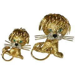 Pair of Gold and Diamond Clip Brooches Van Cleef & Arpels