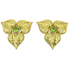 Pair of Gold and Peridot Flower Earrings