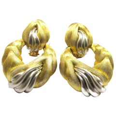 Pair of Gold and Platinum Door Knocker Earclips