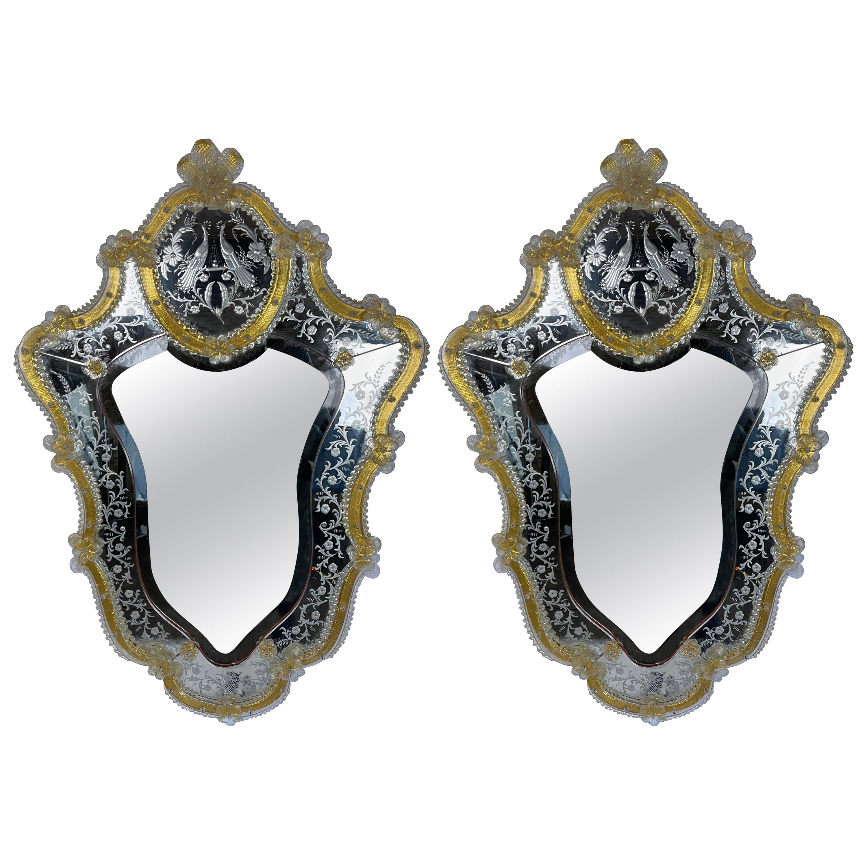 Pair of Gold and White Venetian Shield Form Glass Mirrors