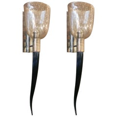 Pair of Gold Bollicine Torch Sconces by Fabio Ltd
