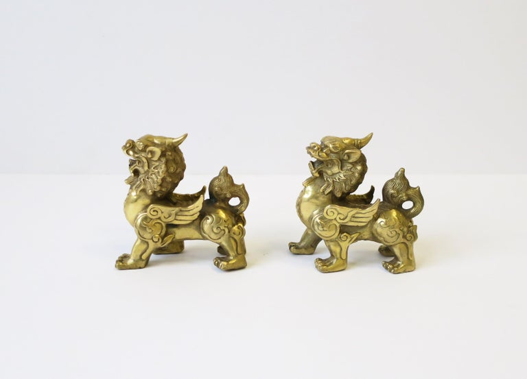Gold Brass Foo Lion Dogs For Sale 4