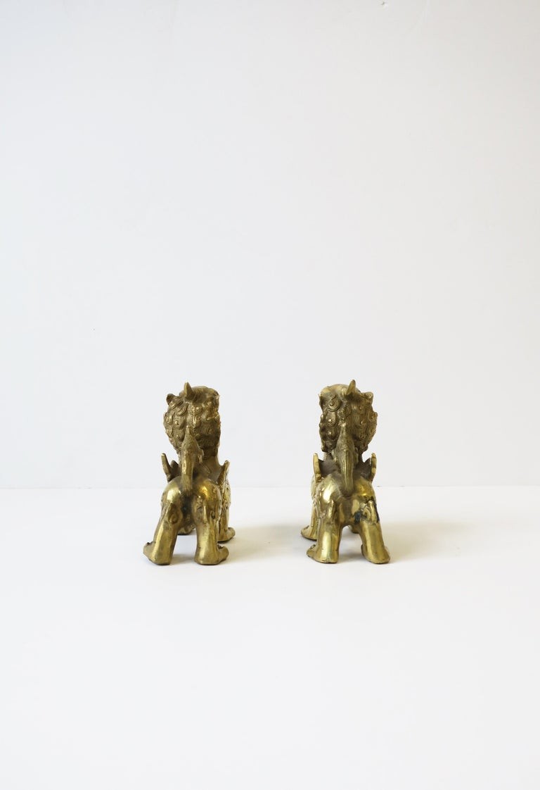 Gold Brass Foo Lion Dogs For Sale 6