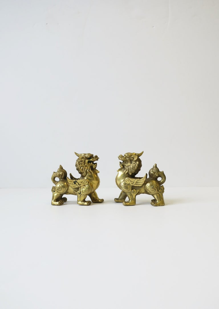 Asian Gold Brass Foo Lion Dogs For Sale