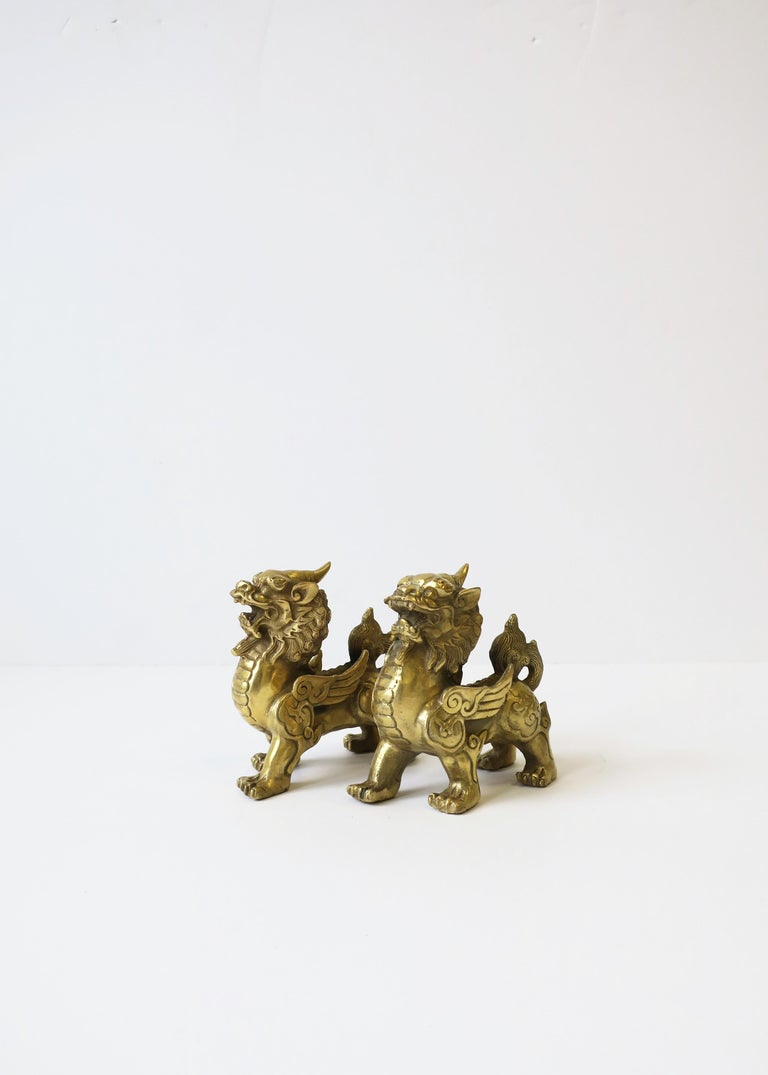 20th Century Gold Brass Foo Lion Dogs For Sale
