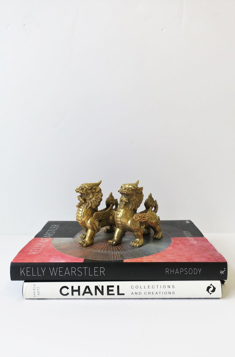 Gold Brass Foo Lion Dogs For Sale 1