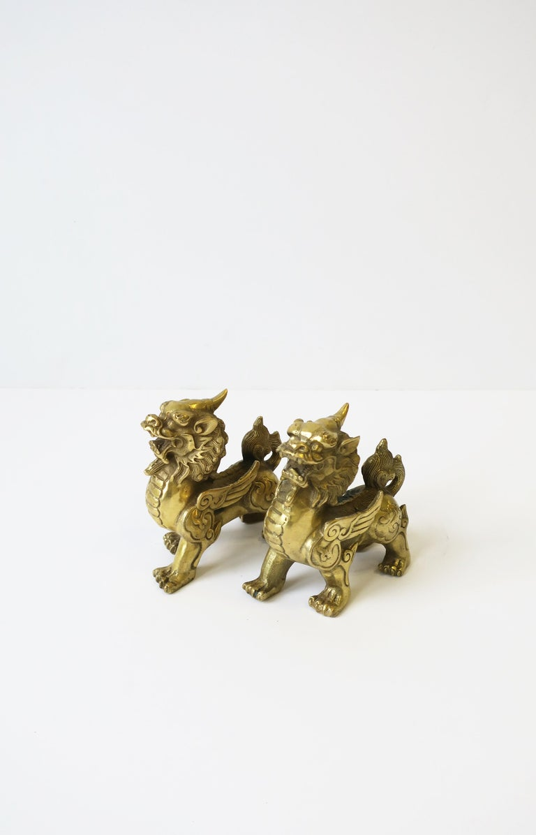 Gold Brass Foo Lion Dogs For Sale 2