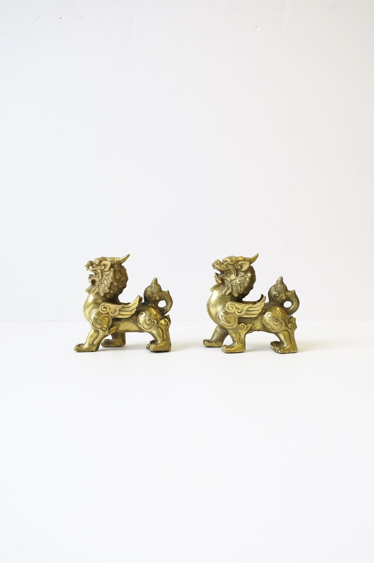 Gold Brass Foo Lion Dogs For Sale 3