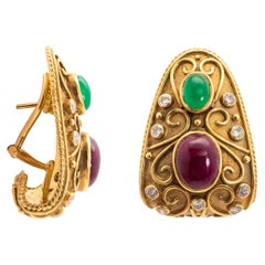 Pair of Gold, Cabochon Ruby, Emerald and Diamond Earrings