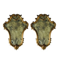 Pair of Gold Carved French Mirrors with Swag