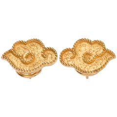 Pair of Gold Chinoiserie Earrings with Hand-Hammered Cloud Motif