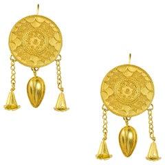 Pair of Gold Circular Plaque Earrings by Akelo