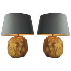 Pair of Gold Cobra Lamps