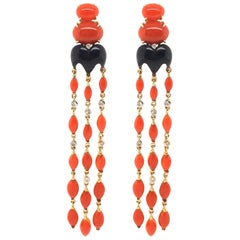 Pair of Gold, Coral, Black Onyx and Diamond Dangling Earrings
