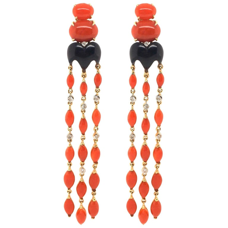 Pair of Gold, Coral, Black Onyx and Diamond Dangling Earrings For Sale