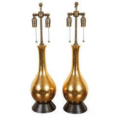 Pair of Gold Crackled Glazed Lamps
