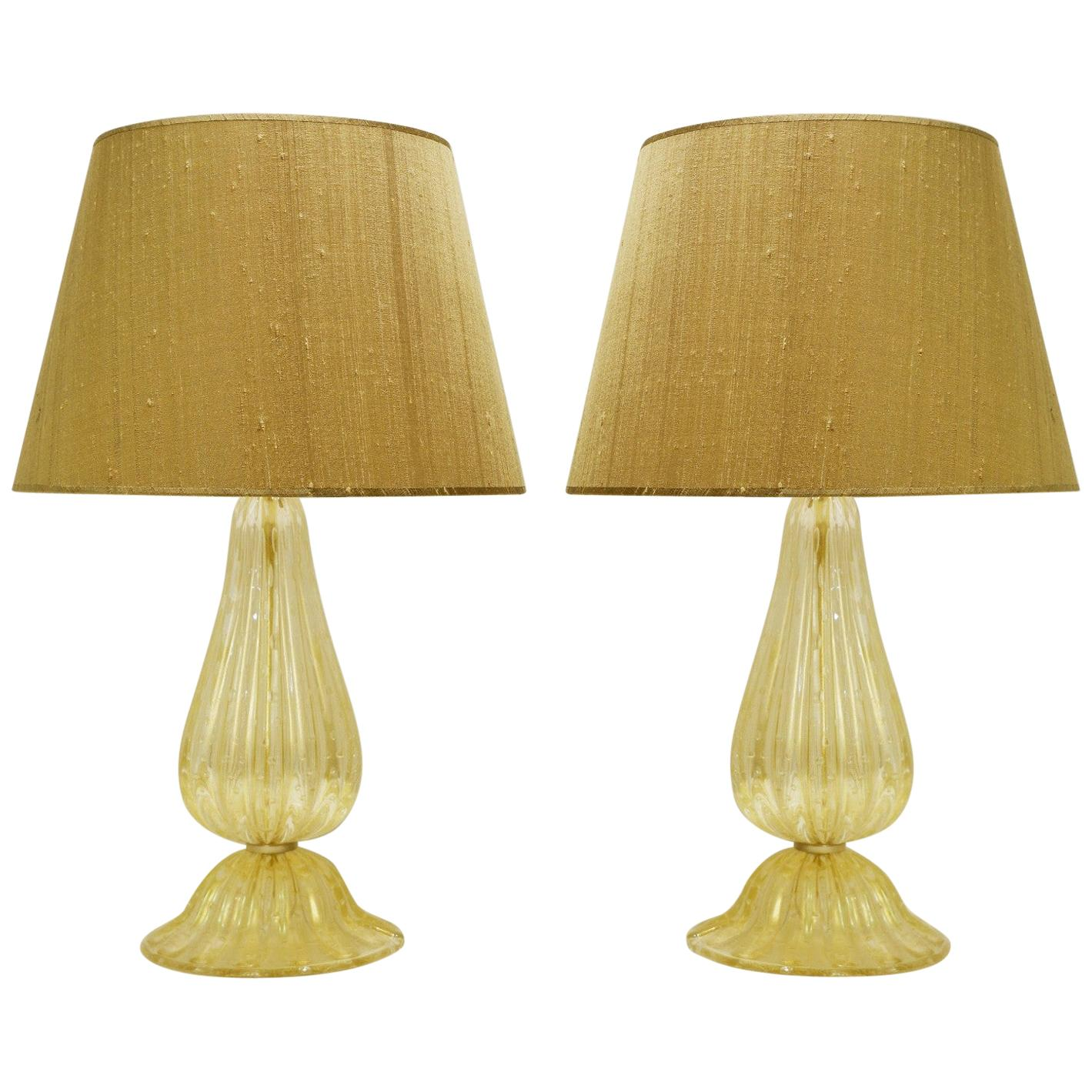 Pair of Gold Dust Murano Glass Table Lamps, Wild Silk Lampshade