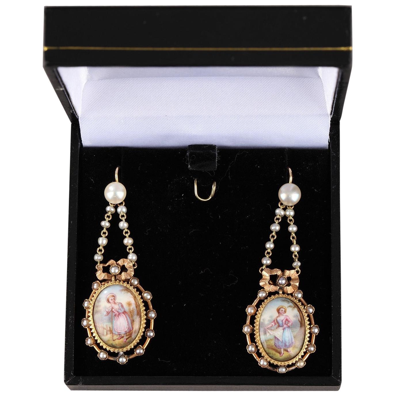 Pair of Gold Earrings, Napoleon III