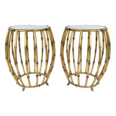 Pair of Gold Faux Bamboo Drum Side Tables with Mirrored Tops