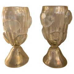 Pair of Gold Flecks Murano Glass Table Lamps, Iridescent Effect, 1950s