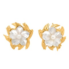 Pair of Gold Flower Earrings with Mother of Pearl and Pearl