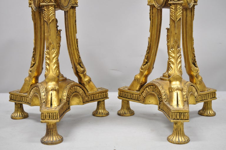 Pair of Gold French Neoclassical Style Figural Maiden Bust Hoof Foot Pedestals For Sale 5