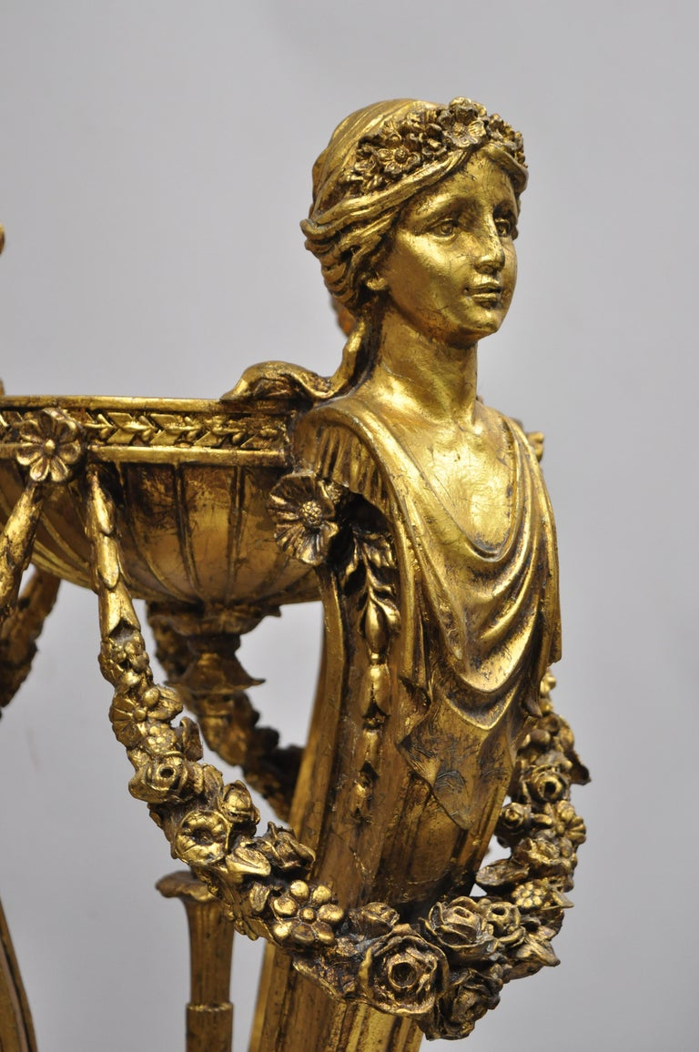 Pair of Gold French Neoclassical Style Figural Maiden Bust Hoof Foot Pedestals In Good Condition For Sale In Philadelphia, PA