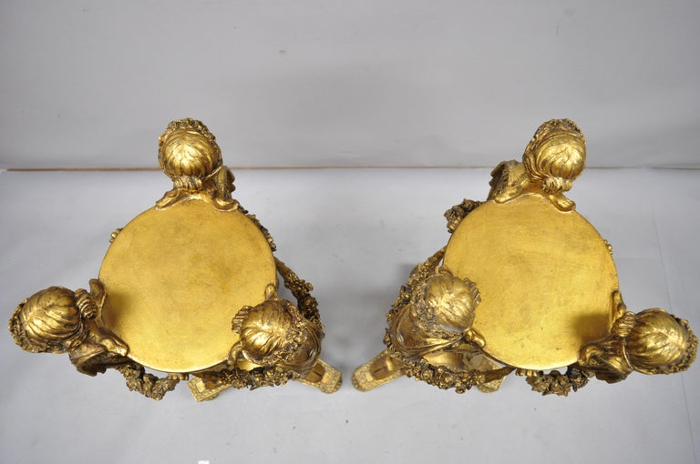 Pair of Gold French Neoclassical Style Figural Maiden Bust Hoof Foot Pedestals For Sale 1