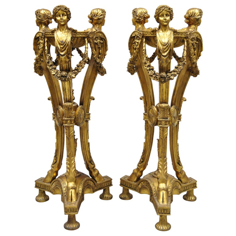 Pair of Gold French Neoclassical Style Figural Maiden Bust Hoof Foot Pedestals For Sale