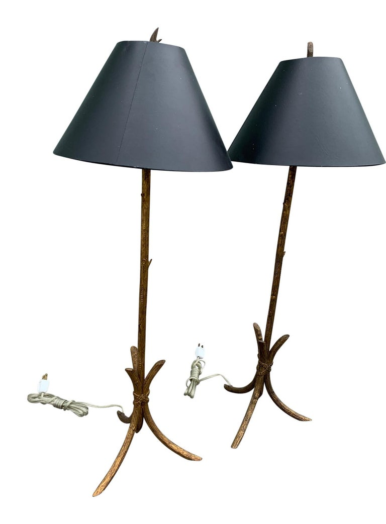Pair of Gold Gilded Faux Bois Lamps For Sale 4