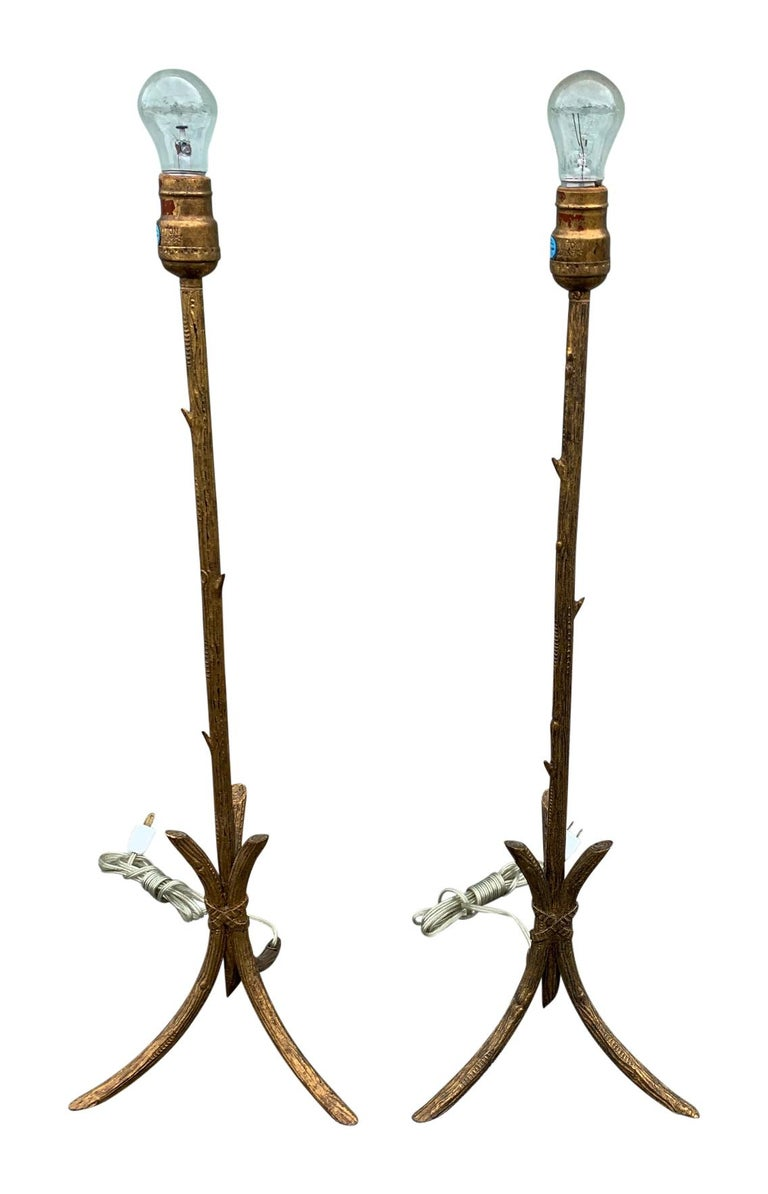 Pair of Gold Gilded Faux Bois Lamps For Sale 5