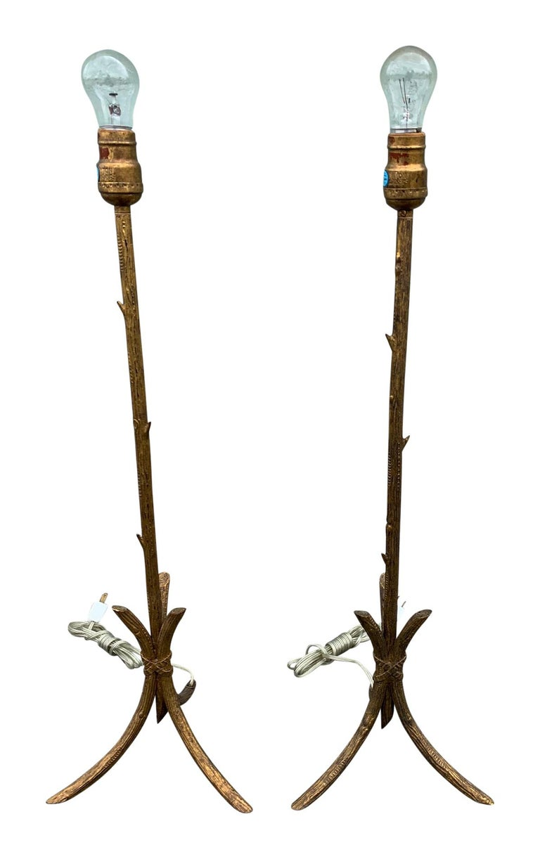 Pair of Gold Gilded Faux Bois Lamps For Sale 6
