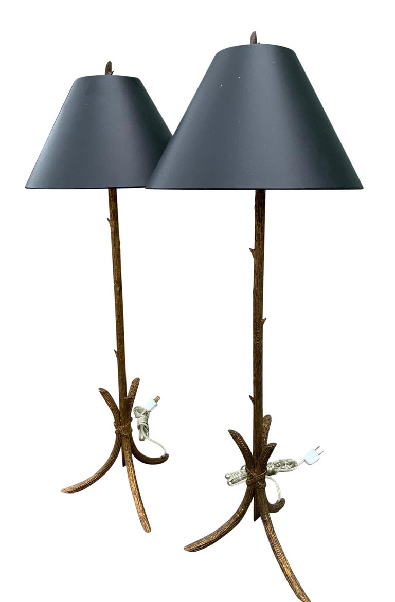 North American Pair of Gold Gilded Faux Bois Lamps For Sale