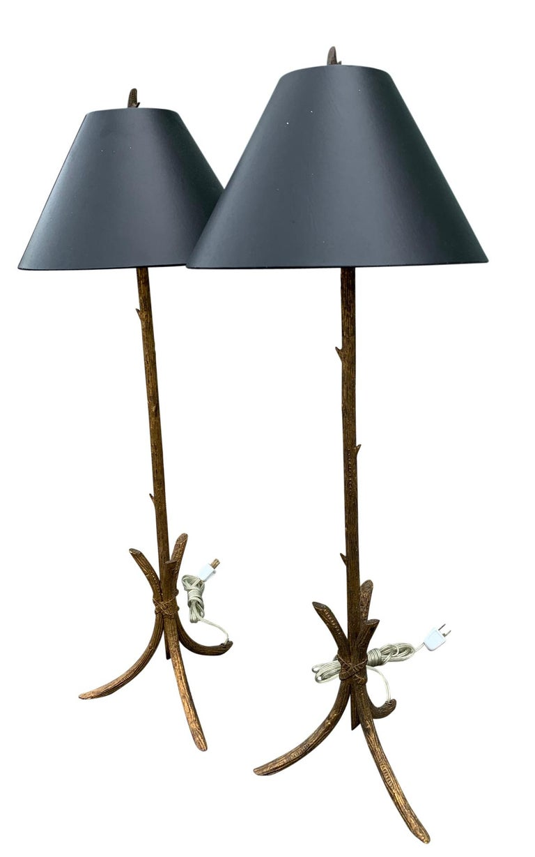 Gilt Pair of Gold Gilded Faux Bois Lamps For Sale