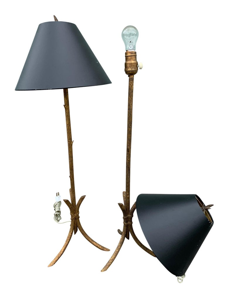 Pair of Gold Gilded Faux Bois Lamps In Good Condition For Sale In West Palm Beach, FL