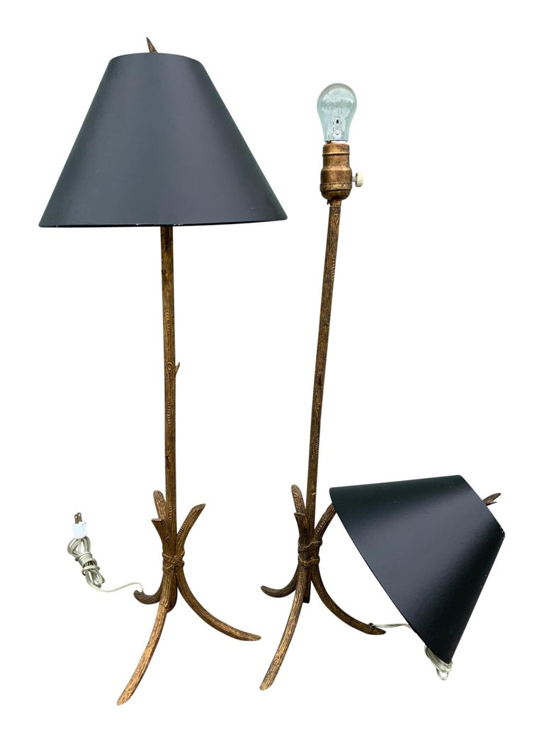 20th Century Pair of Gold Gilded Faux Bois Lamps For Sale