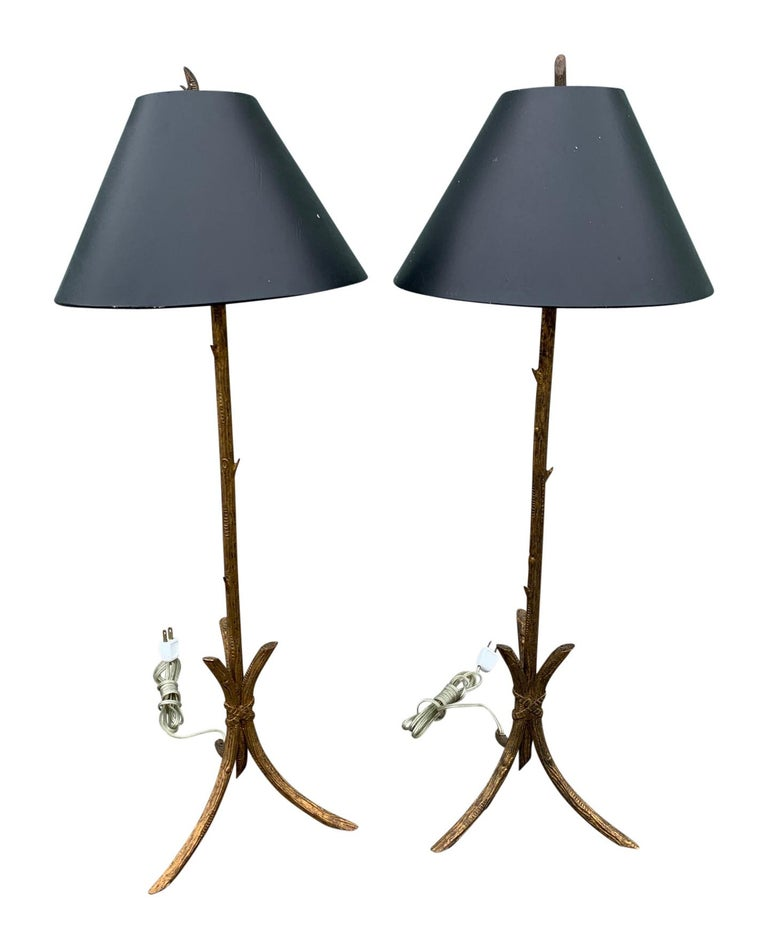 Pair of Gold Gilded Faux Bois Lamps For Sale 1