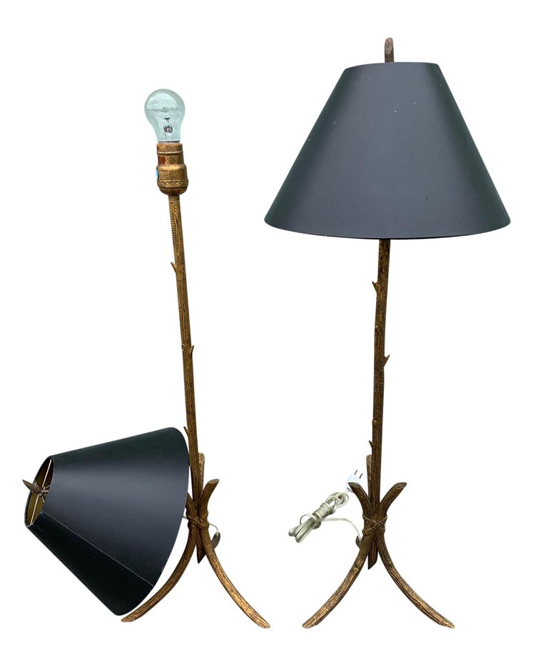 Pair of Gold Gilded Faux Bois Lamps For Sale 2