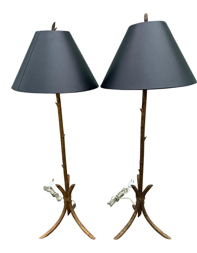 Pair of Gold Gilded Faux Bois Lamps For Sale 3