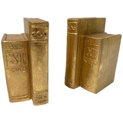 Pair of Gold Gilt Book Sculpture Bookends