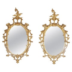 Pair of Gold Gilt Hand Carved Wood Italian Mirrors