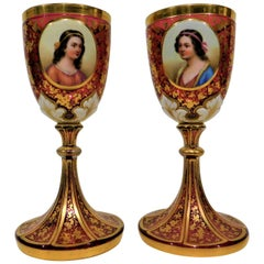 Pair of Gold Gilt Hand-Painted Bohemian Glass Enameled Goblets