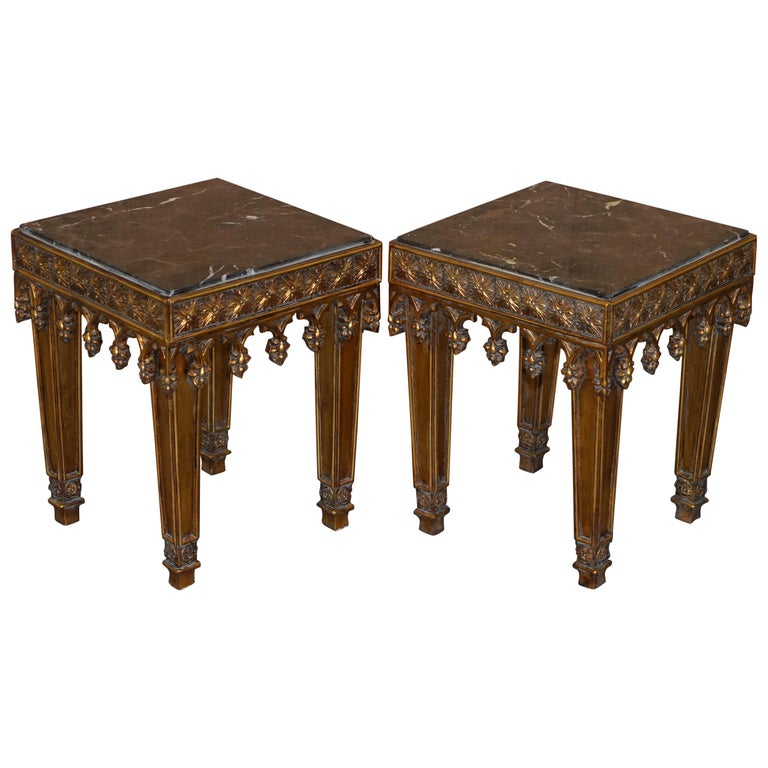 Pair of Gold Giltwood Marble Bust Stands Side End Lamp Wine Tables For Sale