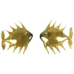 Pair of Gold Glass Bimini Fish