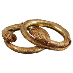 Pair of Gold Hindu-Buddhist Style Snake Bracelets
